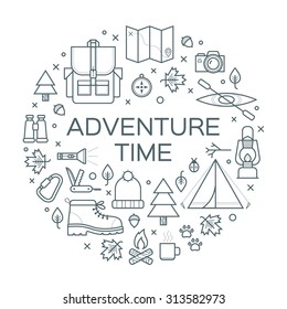 Adventure time. Set of camping equipment symbols and icons. Vector illustration.
