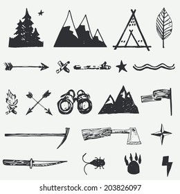Adventure and Travel hand drawn set