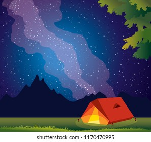 Adventure and travel - red tent and wild summer nature. Vector illustration with travel tent, green grass, silhouette of mountains and milky way on a night starry sky.