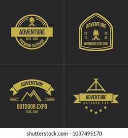 Adventure vintage logo set design element illustration emblem isolated company logotype outdoor