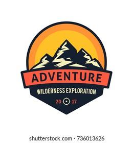 Adventure wilderness exploration. Mountains vector icon.