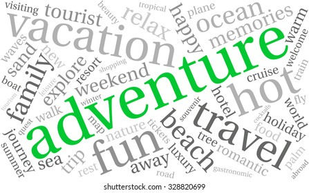 Adventure word cloud on a white background.