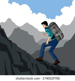 An adventure young man walks up the hill.Vector illustration