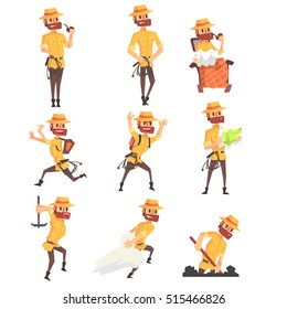 Adventurer Archaeologist In Safari Suit With A Whip Set Of Activity Illustrations
