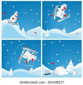 Adventures of a Snowman. Vector Cartoons and Comics for you Design.