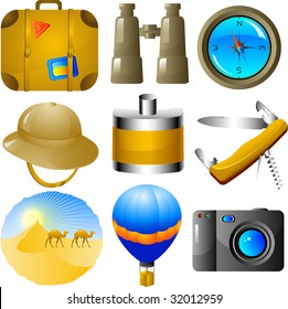 Adventures vector icon set, isolated on white