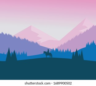 Adventurous landscape vector art.  Background Image usable and Vector source file.   landscape vector image with fantasy landscape art