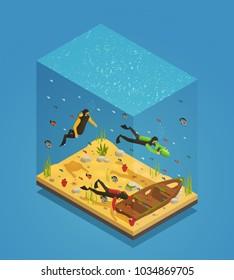 Adventurous scuba divers exploring sunken ship with underwater scooter equipment uncovering treasures isometric composition vector illustration