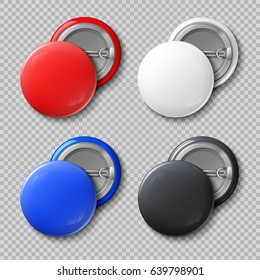 Advertise blank color round metal buttons or badges isolated vector set