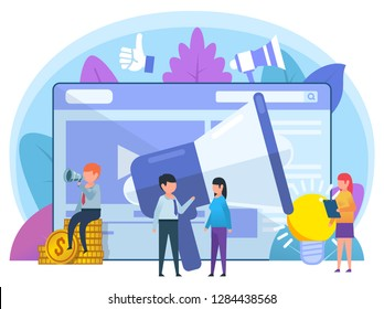 Advertisement agency, online recruitment concept. Small people stand near big megaphone, web page, idea. Poster for social media, web page, banner, presentation. Flat design vector illustration