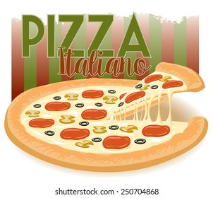 advertisement for a cheesy italian pizza with a slice being taken