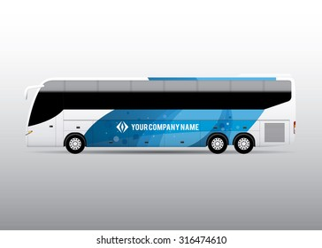 Advertisement or corporate identity design template on white bus. For business, branding and advertising companies.