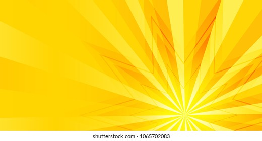 Advertisement flyer design elements. Yellow background with elegant graphic sun star bright light rays from. Vector illustration EPS 10 for template brochure, layout leaflet, newsletters