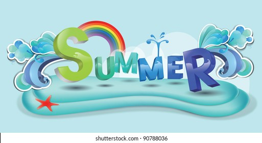 Advertisement  for Happy Playing in Water - swimming with colorful funny letters and cute red starfish on blue background : vector illustration