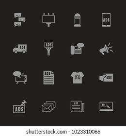 Advertisement icons - Gray symbol on black background. Simple illustration. Flat Vector Icon.