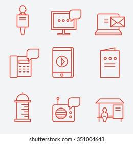 Advertisement icons, thin line flat design
