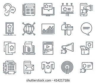 Advertisement, marketing icon set suitable for info graphics, websites and print media.  Hand drawn style, pixel perfect line vector icons