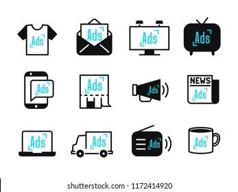 Advertisement and marketing icons set