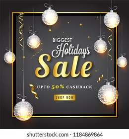 Advertisement Poster or Banner Design with 50% Cashback Offer, Decorated with Glowing Hanging Baubles for Happy Holidays Sale.