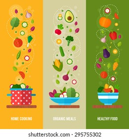 Advertisement set of concept banners with flat vegetable icons for vegetarian restaurant home cooking menu and organic healthy eating recipes