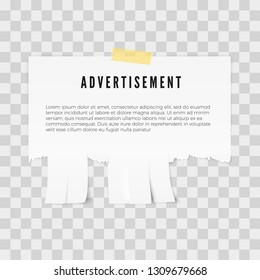 Advertisement tear-off paper template with copy space for text. Vector illustration isolated on tratsparent background