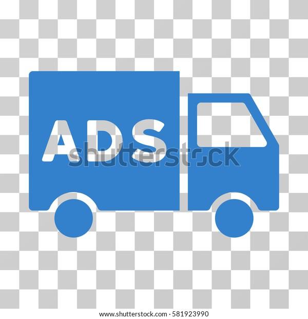 Advertisement Van vector pictogram. Illustration style is a flat iconic cobalt symbol on a transparent background.