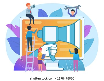 Advertisement in web, public relations concept. Small people stand near loudspeaker, advertisement agency. Poster for presentation, web page, banner, social media. Flat design vector illustration