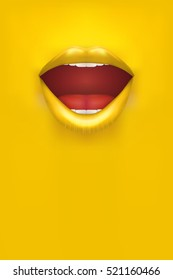 Advertisement Woman Poster. Female lips on Yellow Background. Party Invitation and flyers. Sexual woman. Vector Illustration.