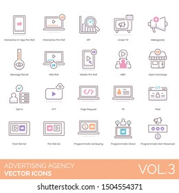Advertising agency icons including pre-roll, kpi, linear tv, makegoods, message recall, mid-roll, mobile, mrc, open exchange, opt in, ott, page request, pii, pixel, post-roll ad, programmatic buying.