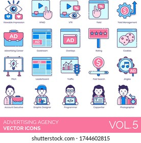 Advertising agency icons including viewable impression, vpaid, vtr, yield management, career, outstream, overlay, rating, cookies, pitch, leaderboard, traffic, paid search, jingles, account executive.