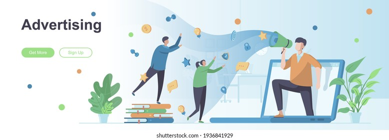 Advertising agency landing page with people characters. Internet marketing and promotion web banner. Advertising campaign vector illustration. Flat concept great for social media promotional materials