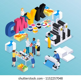 Advertising agency printing house isometric composition with customers designers workers producing colorful press ads material vector illustration