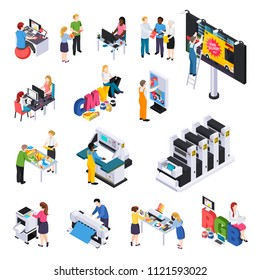 Advertising agency production isometric elements set with ads designers presentations printing cutting installation on billboard vector illustration
