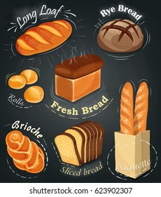Advertising bakery on the chalkboard.   Long loaf, rye bread, baguette, rolls, white bread, sliced bread, brioche. Vector illustration