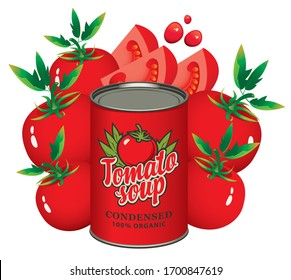 Advertising banner for condensed tomato soup. Vector illustration with a tin can and ripe red tomatoes. Canned food during quarantine, long-term storage product