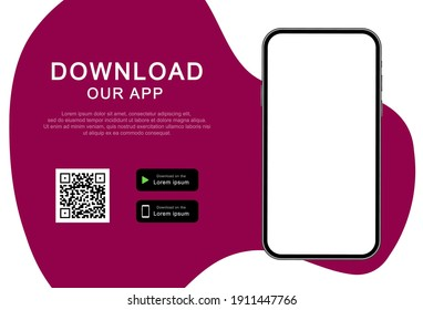 Advertising banner for downloading mobile app. Download our app for mobile phone. Mockup smartphone with empty screen for your app. Vector illustration.