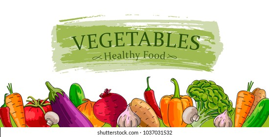 Advertising banner with fresh Vegetables, healthy food illustration, outlined hand drawn graphic