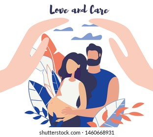 Advertising Banner Love and Car Lettering Flat. Poster Man Stand Behind Woman and Put her Hands on her Stomach. Flyer Girl is Pregnant on Long Term. Closeup Female Hands. Vector Illustration.