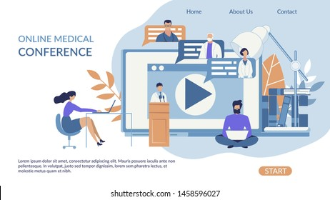 Advertising Banner Online Medical Conference. Poster Medical Professionals Attend an Online Conference. Application to Access Recording Seminar or Conference Flat. Vector Illustration.