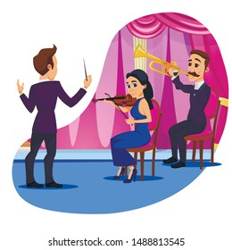 Advertising Banner Orchestra Performance Flat. Musicians Fruitfully Collaborate with an Outstanding Conductor. Men and Women on Stage Play Musical Instruments, Man Conducts. Vector Illustration.