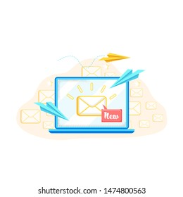 Advertising Banner Receiving New Letter Cartoon. Adaptive Layout Letters. Current Forecast Trends Year. Overview New Information. Increase in Rate Delivered Letters. Vector Illustration.