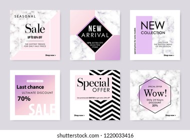 Advertising banner for social media mobile app. Sale and discount backgrounds set. Vector design template.