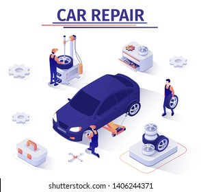 Advertising Banner with Wheel Replacement Offer in Car Repair Service. Masters Change Gum and Disk Using Jacking Apparatus. Teamwork, Vulcanization, Tire Fitting. Vector Isometric 3d Illustration