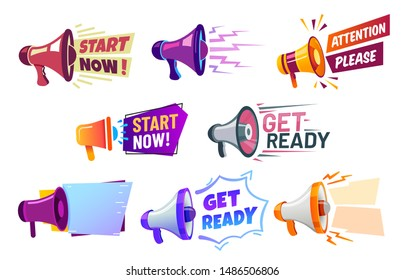 Advertising banners with megaphone. Get ready badge speaker, attention please and start now banner. Hr recruitment logo, work hiring or shopping creative speaker isolated vector icons set