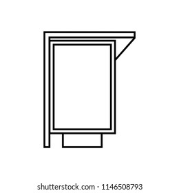 Advertising billboard or citylight lightbox at the bus stop - vector line icon. Form of printed advertising.