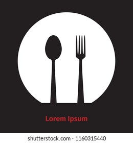 Advertising card with fork, dish and spoon silhouette