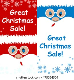 Advertising card , great Christmas sale set Santa Claus is surprised , on a blue and red background