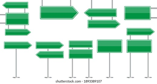 advertising concept with green road signs. City illustration. Travel concept. Stock image. EPS 10.