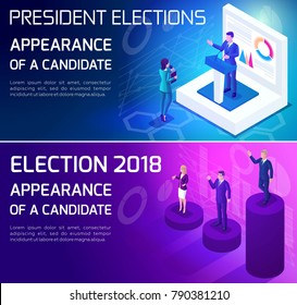 Advertising concept Isometrics, elections of 2018, presidential candidates, voting, debates, pre-election race.