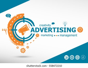 Advertising concept on target icon background. Flat illustration. Infographic business for graphic or web design layout